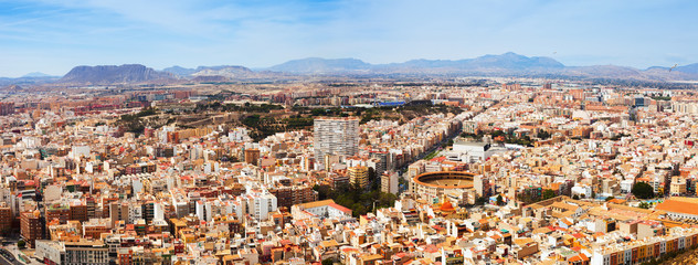 Panorama of Alicante cityscape from Castle