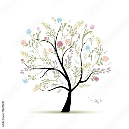 Naklejka Spring tree floral for your design