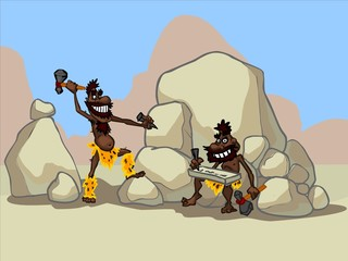 The illustration of two cartoon cavemen in a desert.