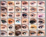 Fototapety Great Variety of Women's Eyes. Set of Eyeshadow. Mascara