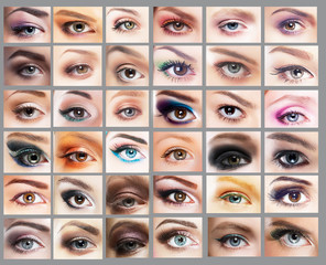 Great Variety of Women's Eyes. Set of Eyeshadow. Mascara