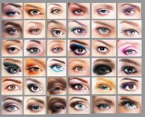 Great Variety of Women's Eyes. Set of Eyeshadow. Mascara
