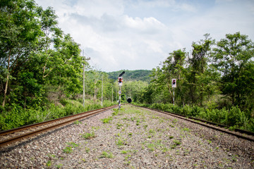 The rural train station in somwhere of Thailand