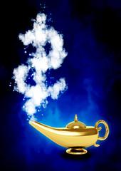 Magic lamp and dollar symbol