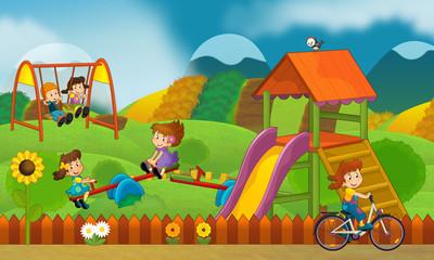 Children at playground - illustration for the children