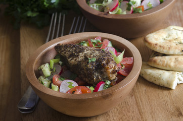 Za'atar chicken with fattoush