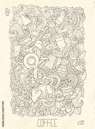 Fototapeta Hand-Drawn Coffee Doodle Vector Illustration. Design Template.