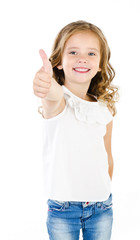 Happy cute little girl with finger up isolated