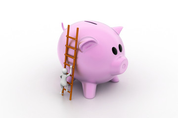 Piggy bank with ladder and man, way to wealth