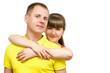 Влюбленная пара молодых людей - на белом фоне