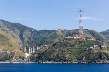 Bridge and Power Tower on Italian Coast
