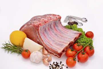 Raw pork ready to be cooked isolated on white.