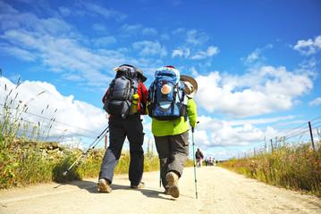 Couple of pilgrims on the Camino de Santiago, Spain