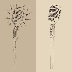 studio microphone vintage illustration, engraved retro style