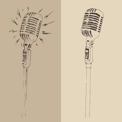 studio microphone vintage illustration, engraved retro style
