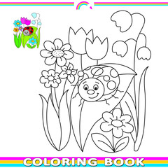 coloring book with ladybird on the meadow