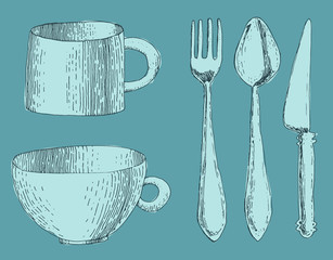 cutlery, fork, knife and spoon, cup  engraved illustration