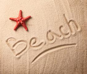 Summer inscription on sand with seastar