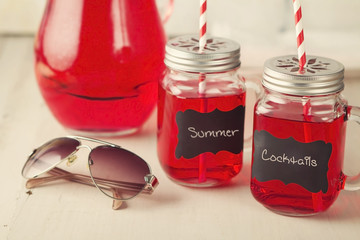 Summer cool cocktail drinks in mason jars