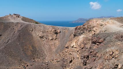 Crater of volcano Nea Kameni in Santorini