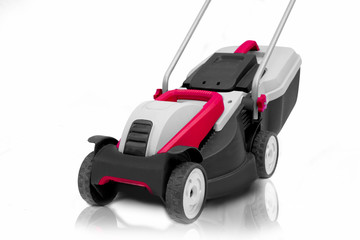 New lawn mower isolated on a white background