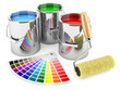 Group of can paints, roller brush and palette of colors