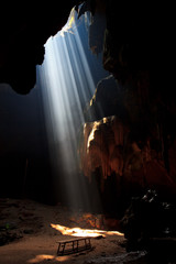 Sunbeam into the cave at the national park, Thailand
