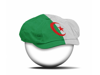 fashion hat on white with the flag of Algeria