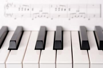 Close-up piano keyboard