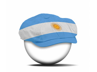 fashion hat on white with the flag of Argentina