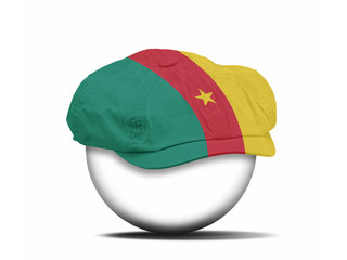 fashion hat on white with the flag of Cameroon