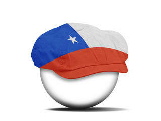 fashion hat on white with the flag of Chile