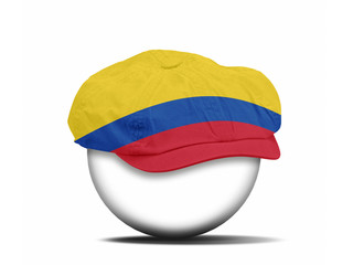 fashion hat on white with the flag of Colombia
