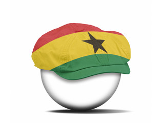 fashion hat on white with the flag of Ghana