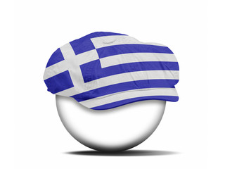 fashion hat on white with the flag of Greece