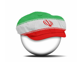 fashion hat on white with the flag of Iran