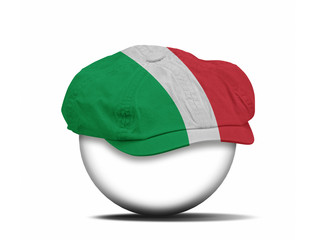 fashion hat on white with the flag of Italy