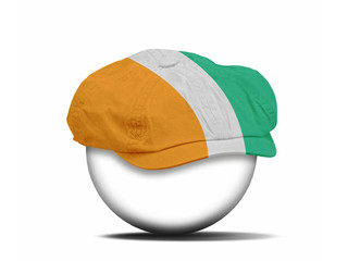 fashion hat on white with the flag of Ivory coast
