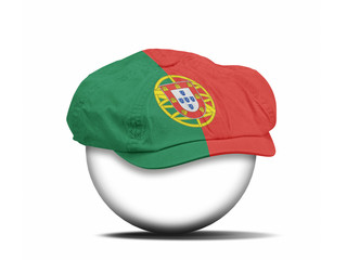 fashion hat on white with the flag of Portugal