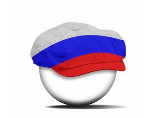 fashion hat on white with the flag of Russia