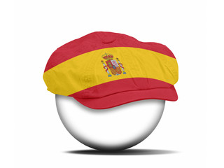 fashion hat on white with the flag of Spain
