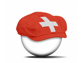 fashion hat on white with the flag of Switzerland