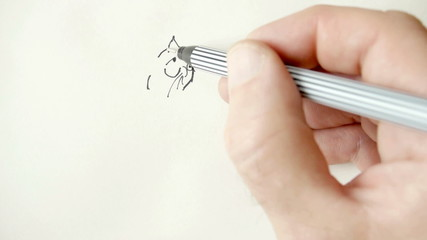 Drawing a cartoon cat.