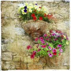 charming floral streets - artistic picture