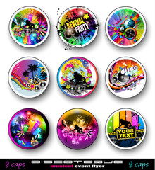 PArty Club Flyers for Music event with Explosion of colors