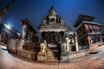 Durbar square at night in Bhaktapur