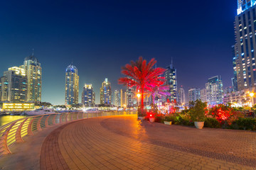 City scenery of Dubai Marina at night, UAE