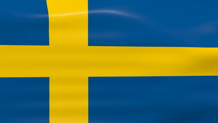 Waving Sweden Flag, ready for seamless loop.