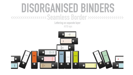 Disorganized ring binders seamless vector border