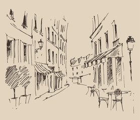 streets in Paris, France, vintage engraved illustration